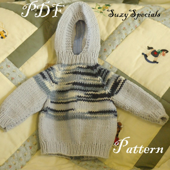 Pattern For Knitted Hooded Baby Sweater With Back Zipper Pdf Etsy