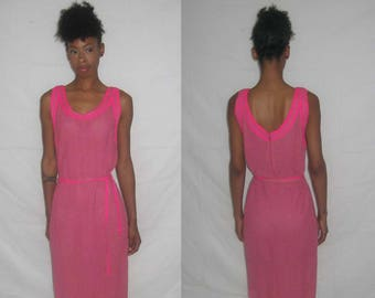 Vintage Hand Loomed By Jorami Pink Sleeveless Scoop Neck Contrast Trim Belted Sweater Knit Dress
