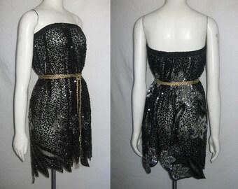 60079ec727 Vintage Black See Thru Sheer Jagged Edge Sequins Beads Rhinestone Jewels  Embellish Multi-functional Skirt Tube Top Short Dress