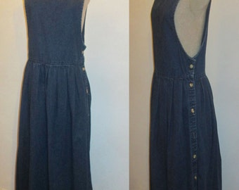 761c406633a Vintage LL Bean Rare Made In USA 100% Cotton Denim Blue Jeans Scoop Neck  Sleeveless Side Buttons Pleated Waist Jumper Dress Size 8 Petite