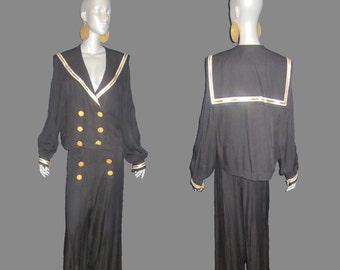 3e7de8d5b49 Sold Please Do Not Buy Vintage N.R.1 Black Gold White Stripe Sailor Collar  Nautical Military 2pc Slouch Jacket Pantsuit Set Outfit