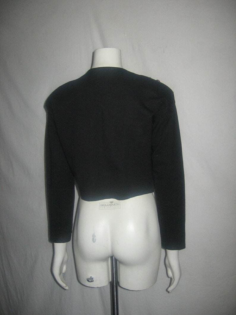 Vintage Jou Jou 1990 Black Multicolor Jewels /& Beads Embellished Button Closure Cropped Bolero Knit Jacket
