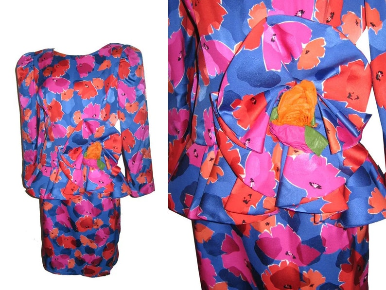 Vintage Raul Blanco  Bergdorf Goodman 2pc Vibrant Multicolor Floral Print Avant Garde Silk Jacket Top Skirt Set Puff Sleeve Size