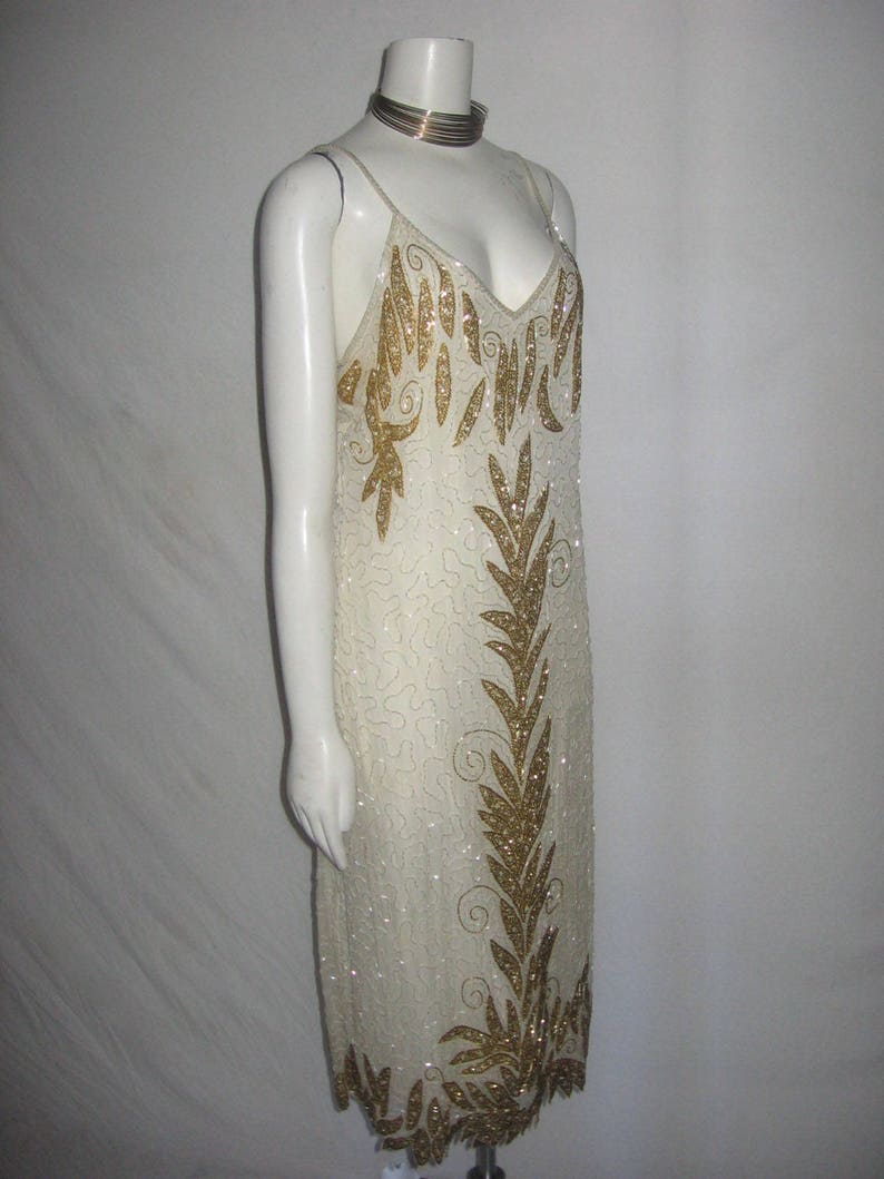 Vintage Elle Belle Made In India Cream Pure Silk Gold /& Pearl Beads Embellished Strappy Jagged Edge Lined Glam Deco Flapper Dress Size 14