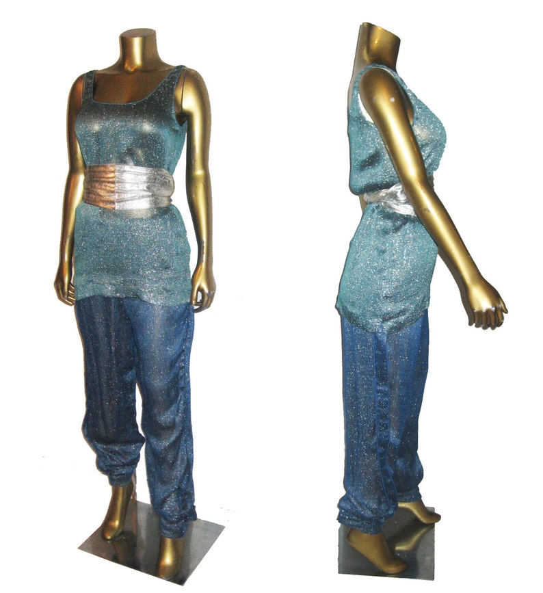 Vintage Norma Walters Rayon Linen Metallic Silver Lame Lurex Sleeveless Tunic Shirred Side Panel Lined Pants 2pc Disco Outfit Separate Sz 12