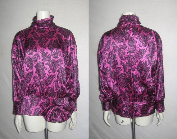 Vintage Pink Black Floral Lace Silk Print Buttoned