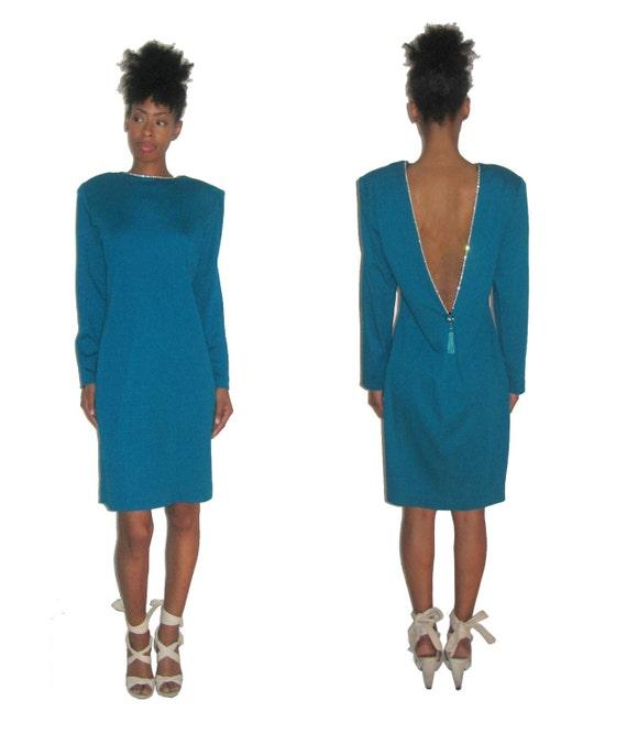 Vintage NWT ET AL Turquoise Rhinestone Deep V-Back