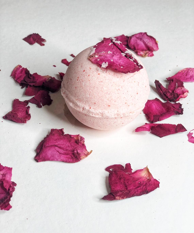 Handmade Organic Vegan Natural Rose Bath Bomb  Relaxing  image 0