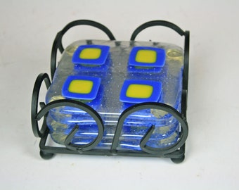 Fused Glass Coasters in Clear, Blue and Yellow (Set of 4)