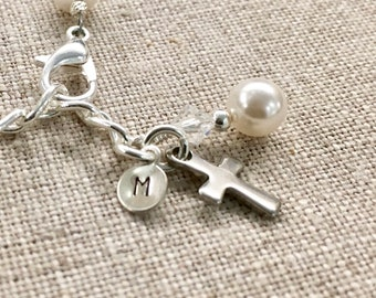 Silver Hand Stamped Initial Charm, Cross, and Pearl