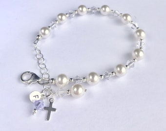 First Communion Bracelet Sterling Silver-Swarovski Elements With SS Personalized Initial Charm and Birthstone Charm