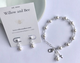 First Communion Bracelet Gift Girl Sterling Silver Earrings set Holy First Communion Catholic Gifts, Religious Gift, First Communion Jewelry