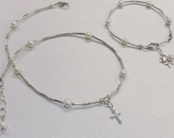 Sterling Silver freshwater pearl necklace with personalized bracelet first communion Easter