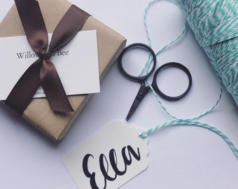 Gift wrap and hand lettered tag