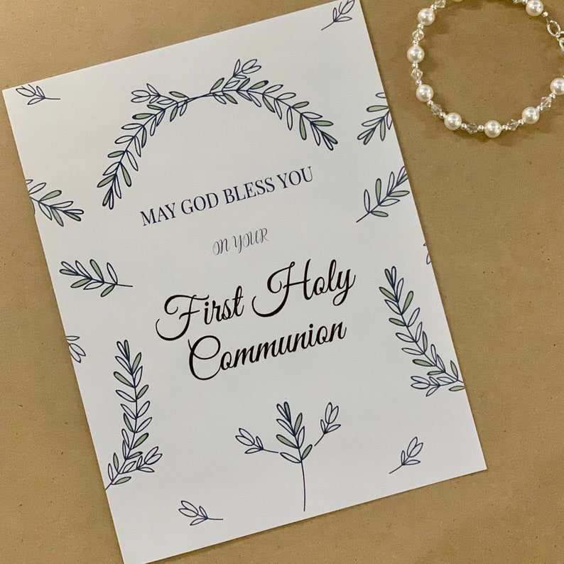 image about Printable First Communion Cards identified as Printable Do-it-yourself Card print at residence Initial Communion Card Non secular card 1st Communion Card Lady Catholic Present Boy