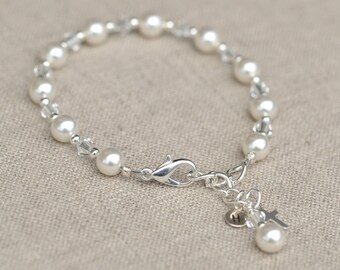 First Communion Bracelet and Earring set with Cross Swarovski Elements