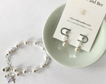 First Communion Bracelet Gift Girl Sterling Silver-Swarovski Personalized Initial Charm, Birthstone, Earrings set