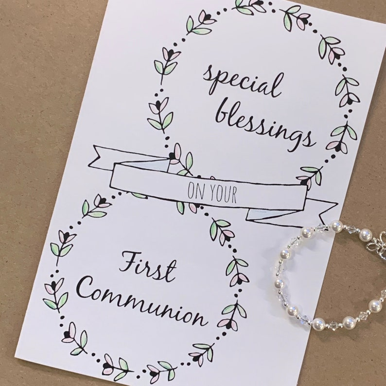 photo about Printable First Communion Cards identified as Printable Card Do it yourself Card print at house To start with Communion Card To start with Communion Catholic Present Woman