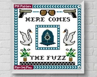 Here Comes the Fuzz Cross Stitch Pattern PDF , Cross Stitch Modern Cross Stitch Sampler - Instant Download