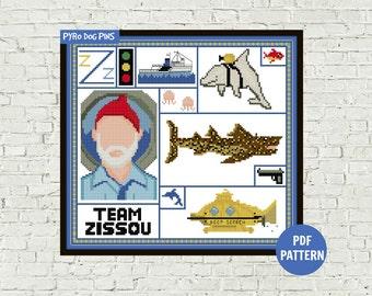 Team Zissou - The Life Aquatic - Cross Stitch Pattern - PDF - Modern Cross Stitch Pattern - Instant Download - Craft Pattern