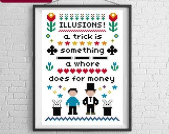 Arrested Development Cross Stitch Pattern, 'Illusions' Modern Cross Stitch Sampler - PDF / Instant Download Pattern