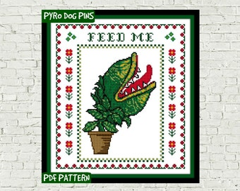 Feed Me Cross Stitch Pattern PDF - Modern Cross Stitch Sampler - Instant Download