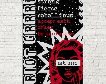 Riot Grrl Cross Stitch Pattern/PDF - Modern Cross Stitch Zine Style Sampler - INSTANT DOWNLOAD