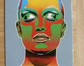 Chameleon women painting canvas stencils art spray paint pop art design urban multicoloured graffiti woman face portrait eyes like skin deep