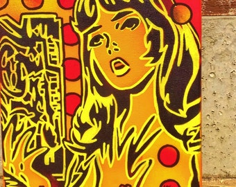 Comic woman painting on canvas Lichtenstien pop art stencils spray paints urban graffiti mixed media posca paint wall art design gift modern