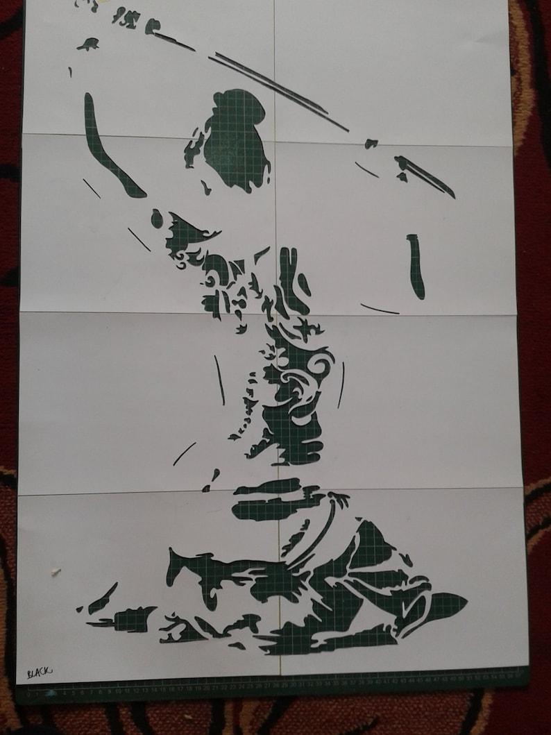 Japanese nude Geisha with samurai sword painting stencil art