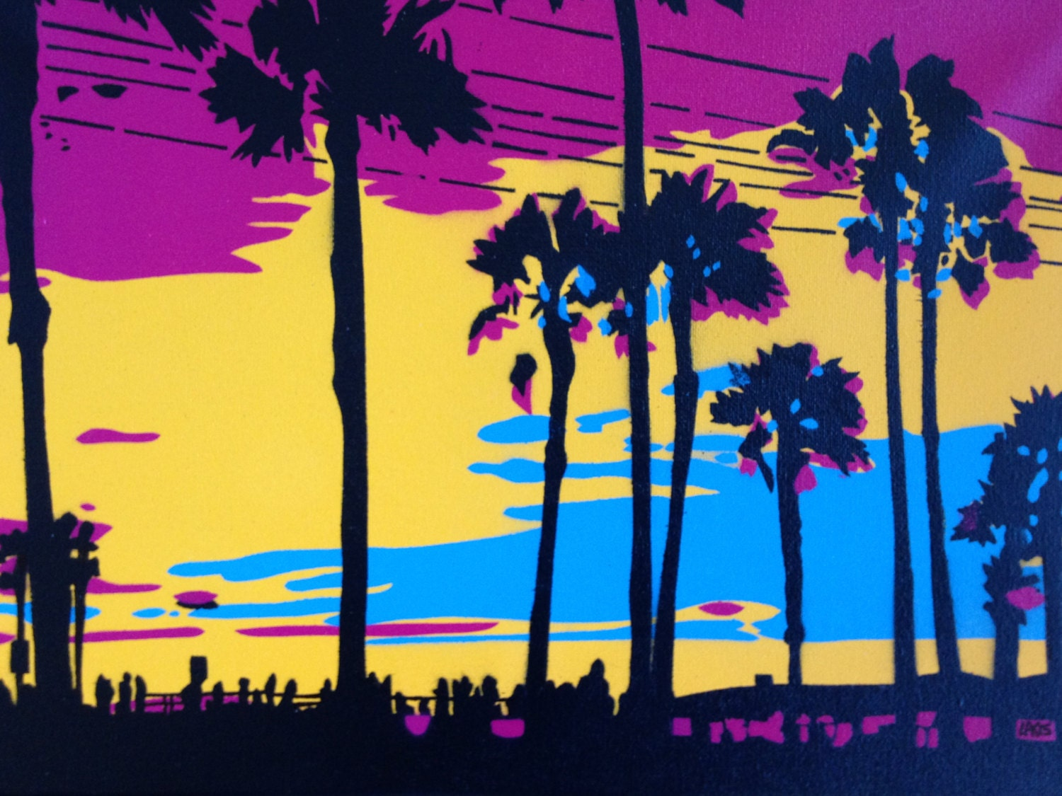 1 DIGITAL DOWNLOAD Sunset in Los Angeles stencil art canvas | Etsy