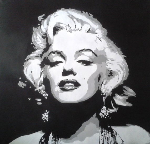 Marilyn Monroe Painting Large Canvas Stencil Art Spray Paint Etsy