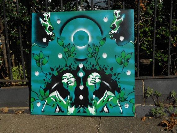 Attraktiv Afro Frauen Schablone Malerei Garten Eden Sprühfarbe Kunst | Etsy