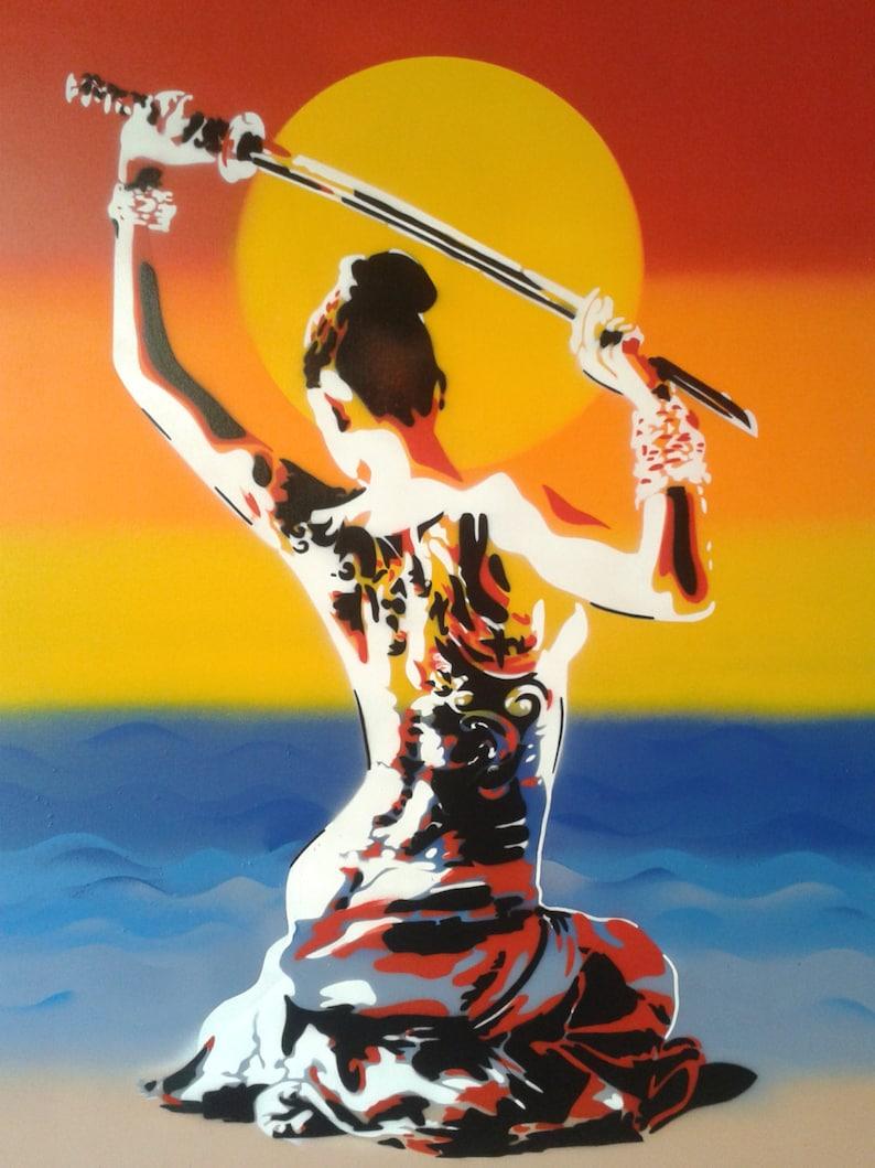 Japanese nude Geisha with samurai sword painting stencil