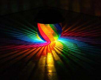 Rainbow Painted Table Solar Light/Outdoor Lamp/Hurricane Lantern/Fairy Garden/NightLight/Centerpiece Light/Garden Light/Rainbow Wedding