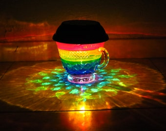 Rainbow Painted Solar Tea Cup Table Lamp/ReCLAIMED glass Lit by Outdoor Solar LED/Hurricane Lantern/Fairy Garden/Upcycle Centerpiece/gift