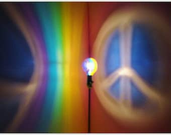 Rainbow Peace Sign Painted MoodLight Bulb 4 Holiday Gift Party Night Light Peace on Earth Stocking Stuffer Hippie Mood Lighting Kids Lamp