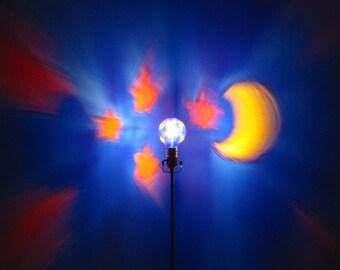 Moon Stars Painted Yellow Orange Blue MoodLight Bulb/Painted Light Bulb/Night Lights/Kids Room/Baby Room Decoration/Light Projection/Dorm