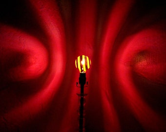 Red & Black Spiral Painted MoodLight Bulb 4 Valentines Day/Lights up the Room fits any Standard Lamp/Mood Lighting/Night Light/Man Cave/Red