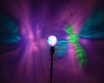 Dragonfly Purple Painted MoodLight Bulb/Projection Lamp/Night Light/ Dragonfly Decor/Kids Lamp/Nursery Lighting/Fairy Light/Mood Light