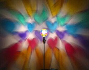 Rainbow Hearts Painted MoodLight Bulb/Valentines Gift/Rainbow Nursery/NightLight/Rainbow Hearts/Girls Room Lamp/Heart Chakra/Projection Lamp