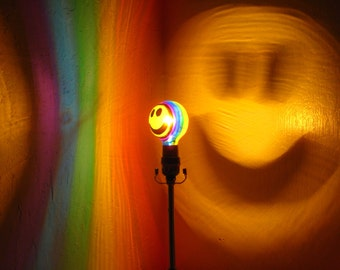 Rainbow Happy Smiley Face Painted Projection MoodLight Bulb/Night Lights/Kids Lamp/Game Room Decor/Mood Light/Dorm Room/Painted Light Bulb