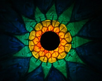 Solar SunFlower Painted Luminary Lantern/ReCLAIMED TeaCup SolarPowered LED/Outdoor Patio/Table Lamp/Mood Lights/Fairy Garden/Projection Lamp