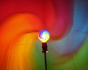 Rainbow Fibonacci Spiral Painted MoodLight Bulb/Dorm Room/NightLight/Sacred Geometry/Yoga/Massage/Meditation Room/Mood Light/Chakra Light