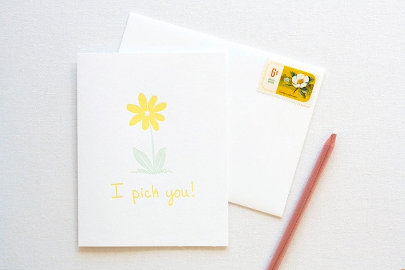 Daisy Flower Love Letterpress Card image 0