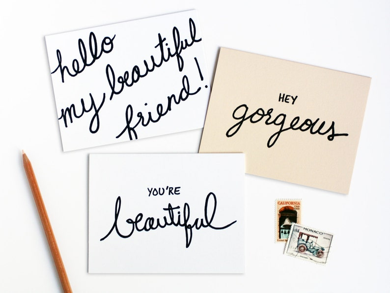 Beautiful Friend Letterpress Note Card Set of Six image 0