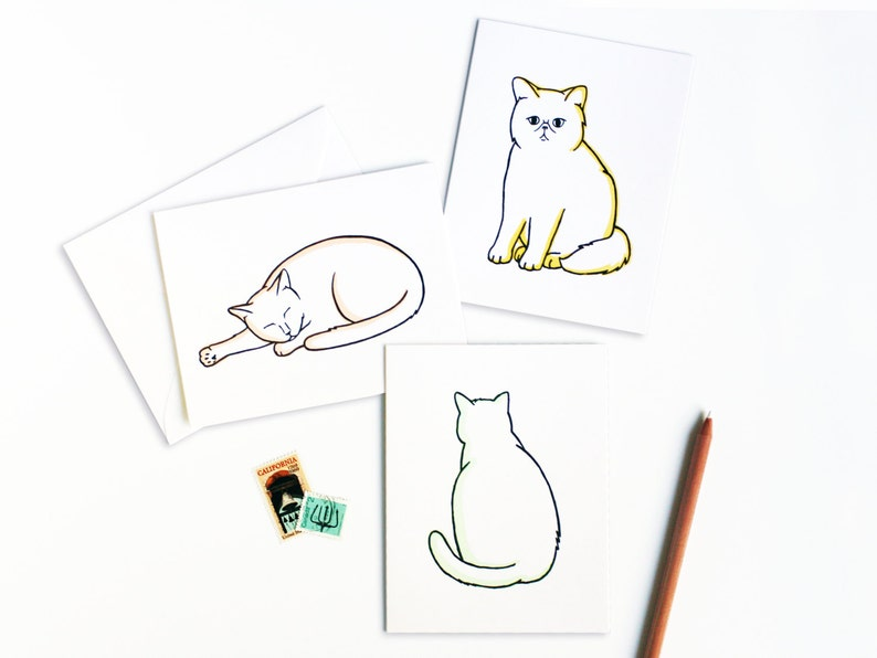 Cute Cat Greetings Letterpress Card Set image 0