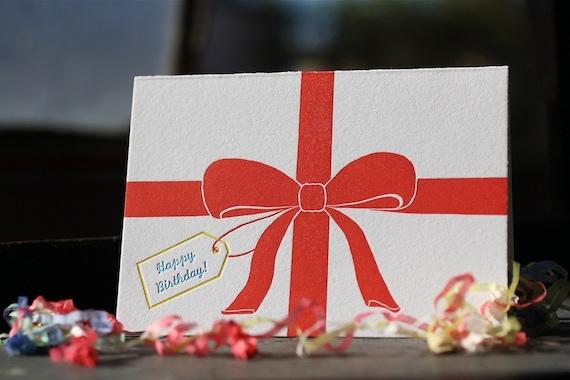 Ribbon Letterpress Birthday Card