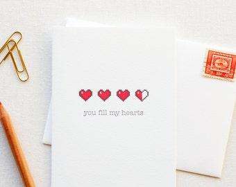 Fill My Hearts Letterpress Love Card