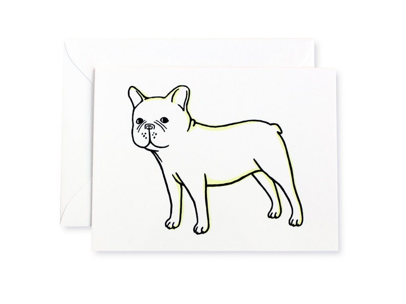 French Bulldog Standing Letterpress Card image 0
